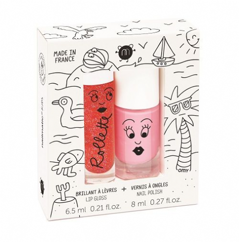 nailmatic® kids - Rollette & Lip Gloss Polish Duo - HOLIDAYS (Strawberry/Cookie Pink)
